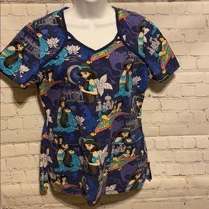 Disney Aladdin scrub top woman's size small